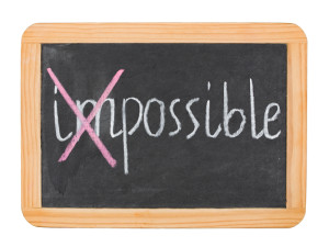 """Possible"" caption on chalk board isolated on white"